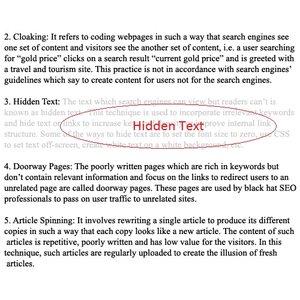SEO Hidden text 1