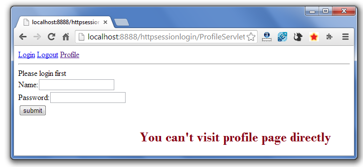 Servlet HttpSession Login and Logout Example - javatpoint