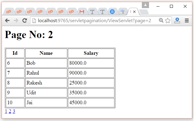 Servlet Pagination Example 3