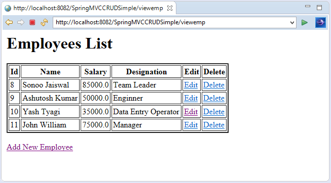 Spring MVC CRUD Example - javatpoint