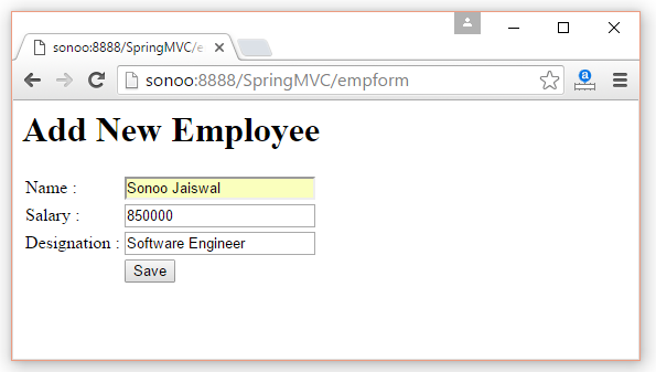 Spring MVC Form Example - javatpoint