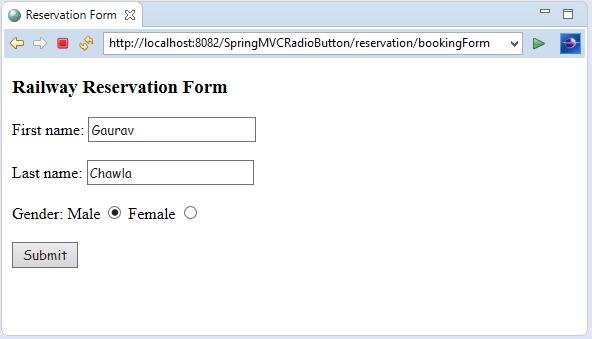 Spring MVC Form Radio Button