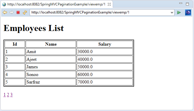 Spring MVC Pagination Example