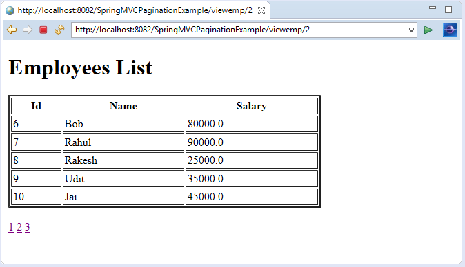 Spring MVC Pagination Example - javatpoint