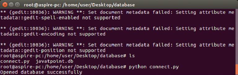 Python SQLite Example - javatpoint