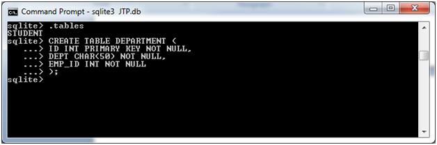 SQLite Create table 3