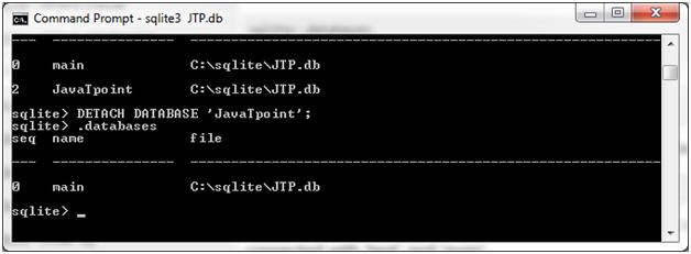 SQLite Detach database 3