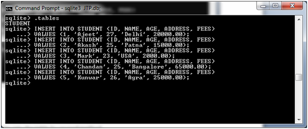 SQLite Insert query 1