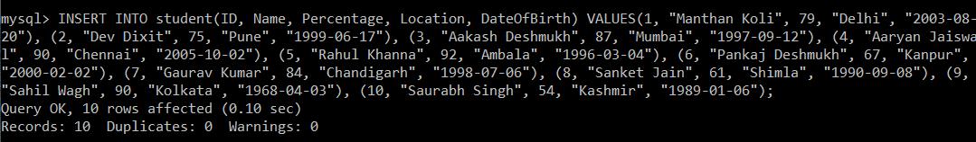 SQL INSERT Multiple Rows