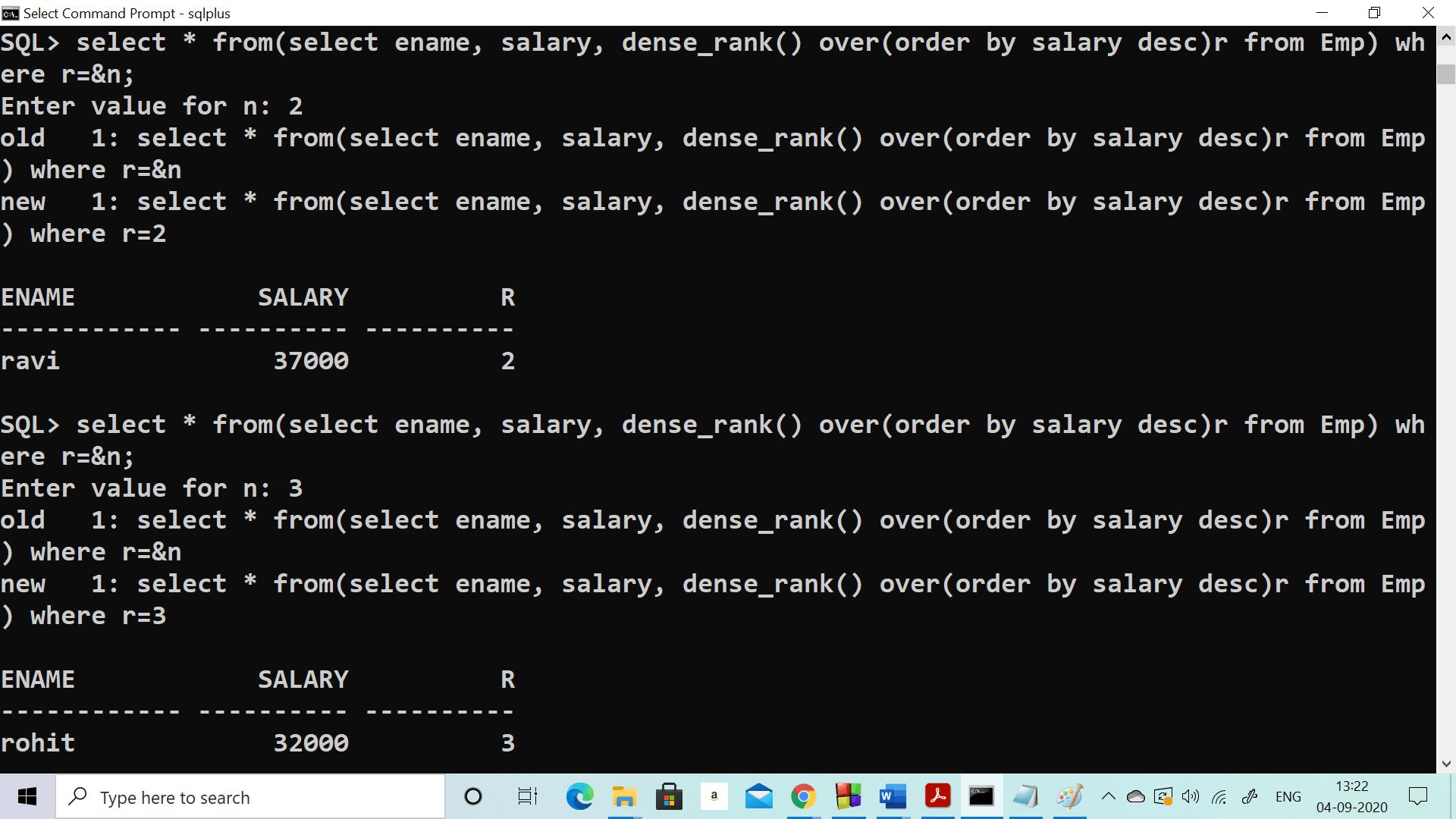 Nth Highest salary