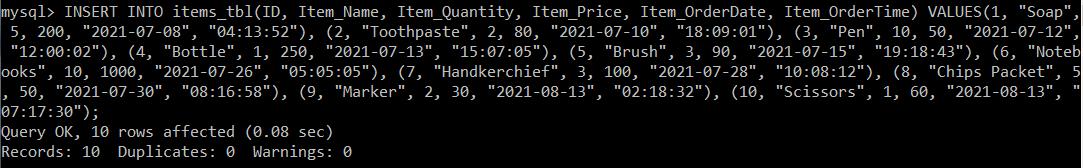 TIME Datatype in SQL