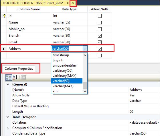 Add Columns in SQL Server