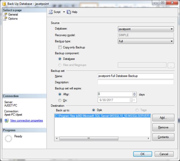 SQL Backup a database 3