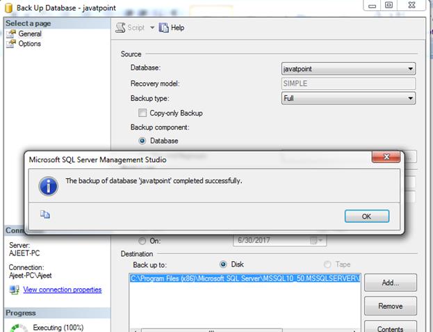 SQL Backup a database 4