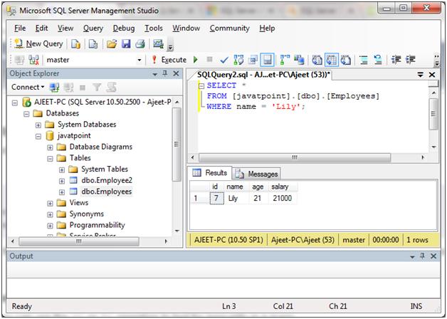 SQL Comparison operators 2