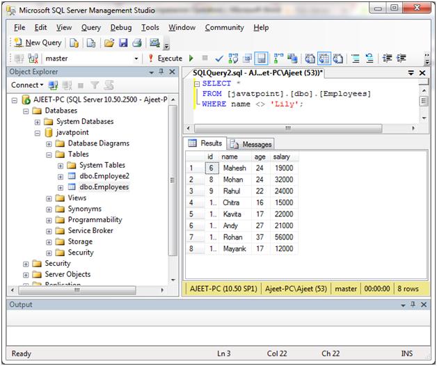 SQL Comparison operators 3