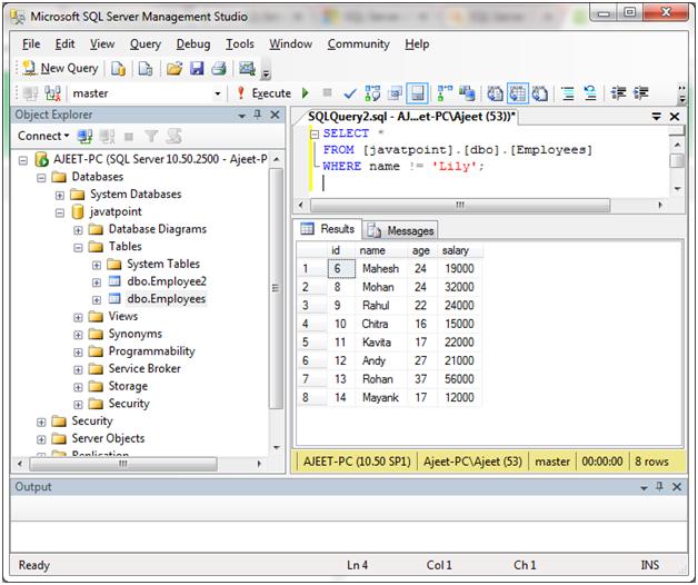 SQL Comparison operators 4