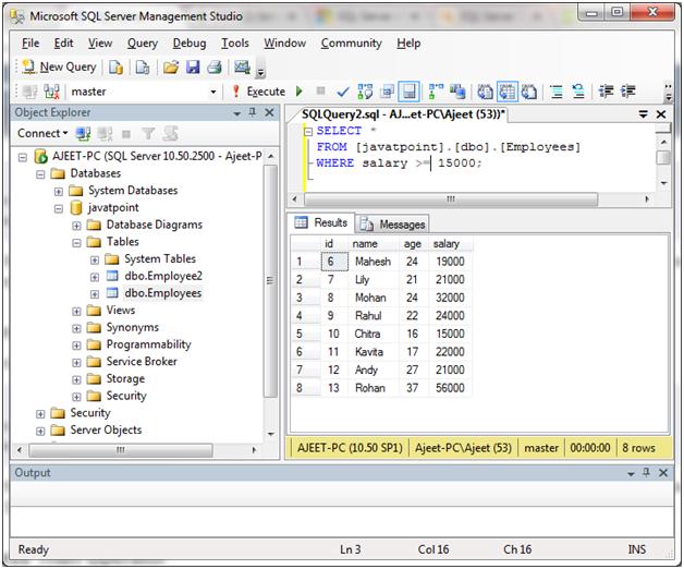 SQL Comparison operators 6