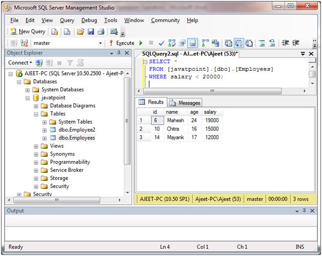 SQL Comparison operators 7