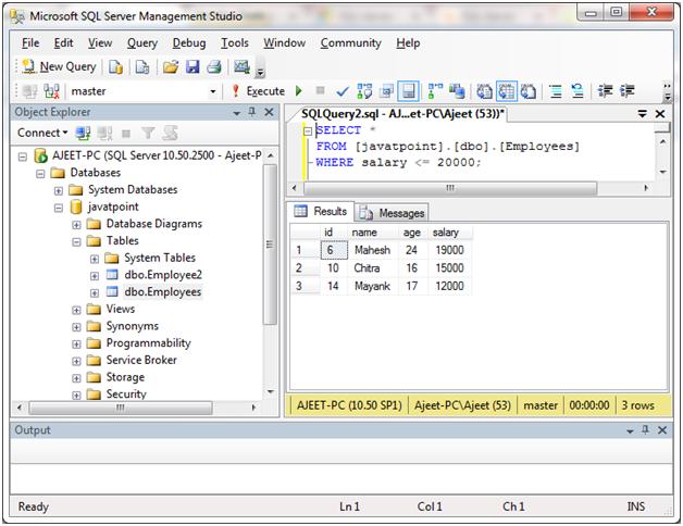 SQL Comparison operators 8