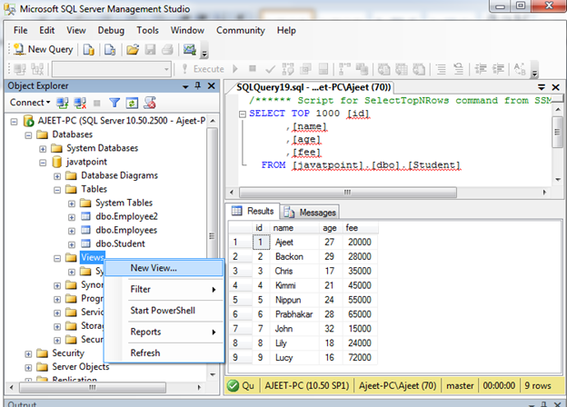 SQL Create view 2