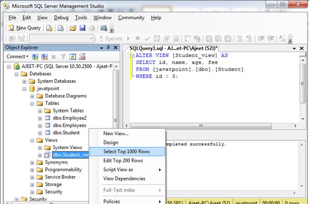 SQL Create view 8