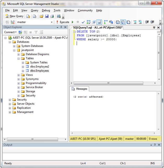 SQL Delete top statement 2