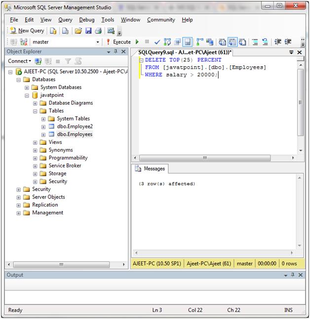 SQL Delete top statement 4