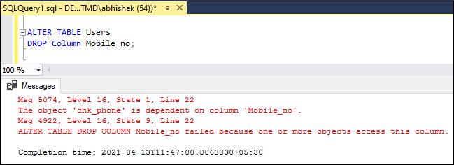 Drop Column in SQL Server