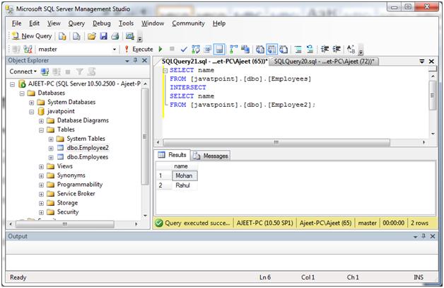 SQL Intersect operator 2