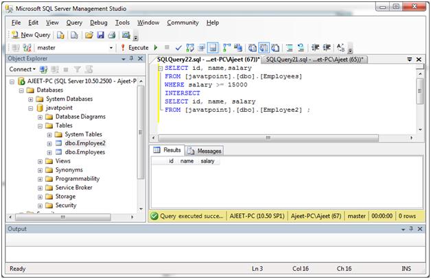 SQL Intersect operator 3