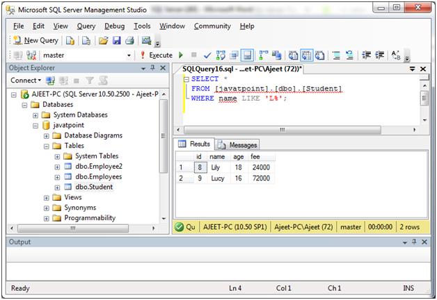 SQL Like 2