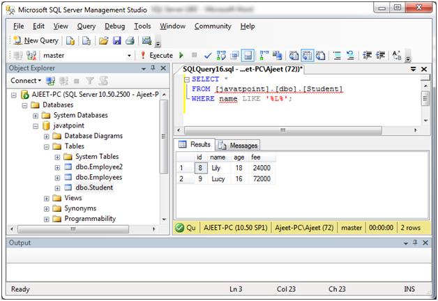 SQL Like 3