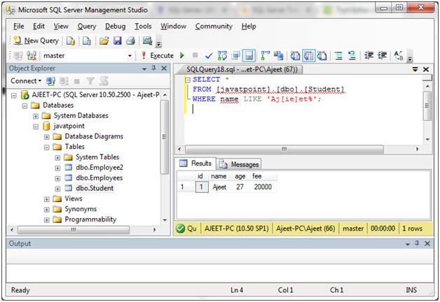 SQL Like 4