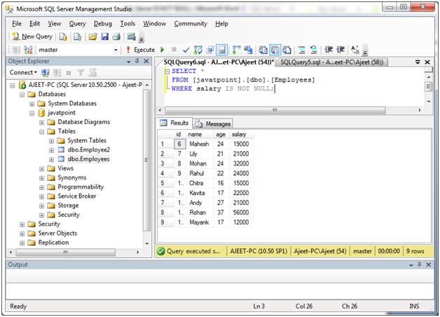 SQL Not null 1