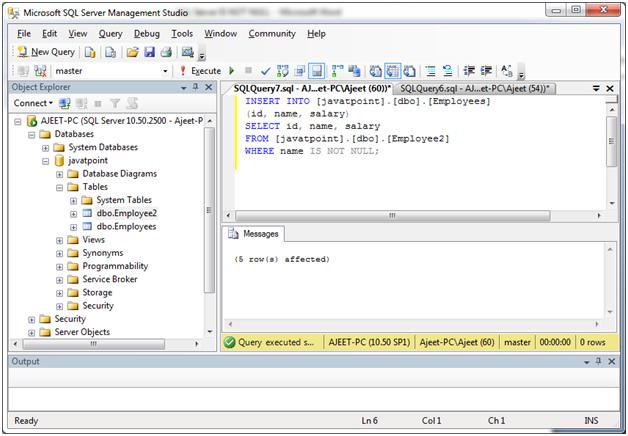 SQL Not null 2