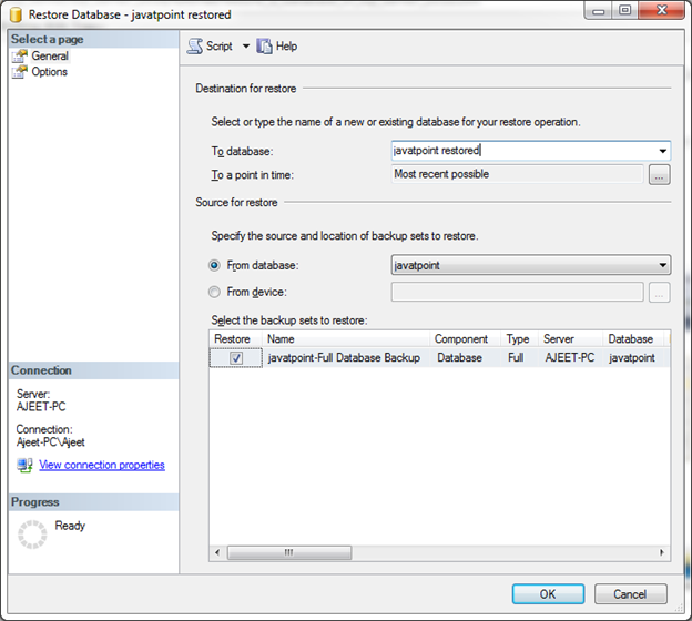 SQL Restore a database 3