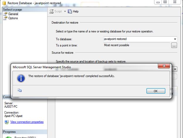 SQL Restore a database 4
