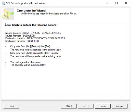 SQL Server Copy Tables