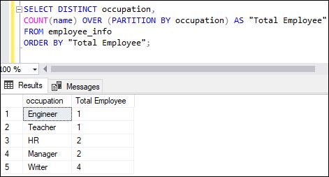 SQL server count function