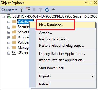 SQL Server CREATE DATABASE