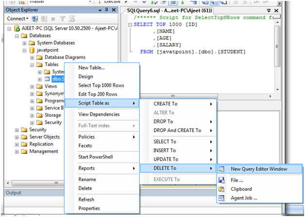 Sql Server Delete Data - javatpoint
