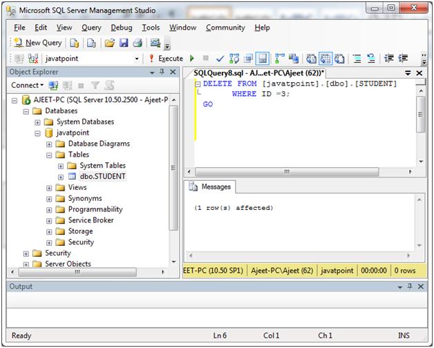 SQL server delete data 3