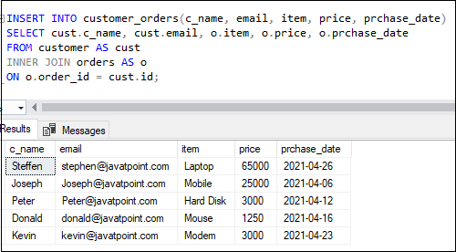 SQL Server Insert Into