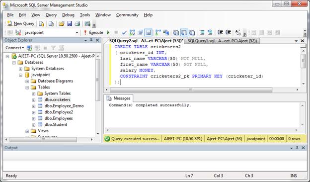 SQL Server primary key 3