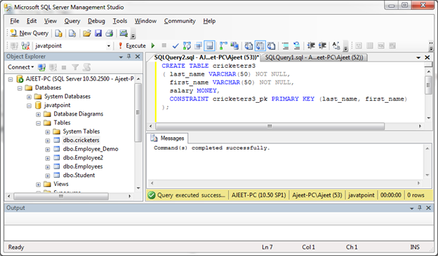 SQL Server primary key 5