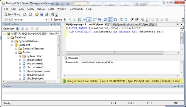 SQL Server primary key 7