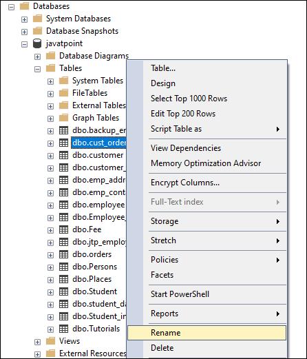SQL Server Rename Table