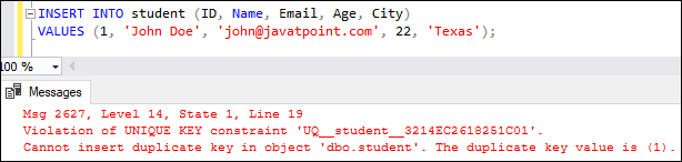 SQL Server Unique Key