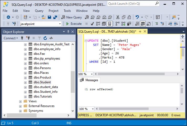 SQL server update data